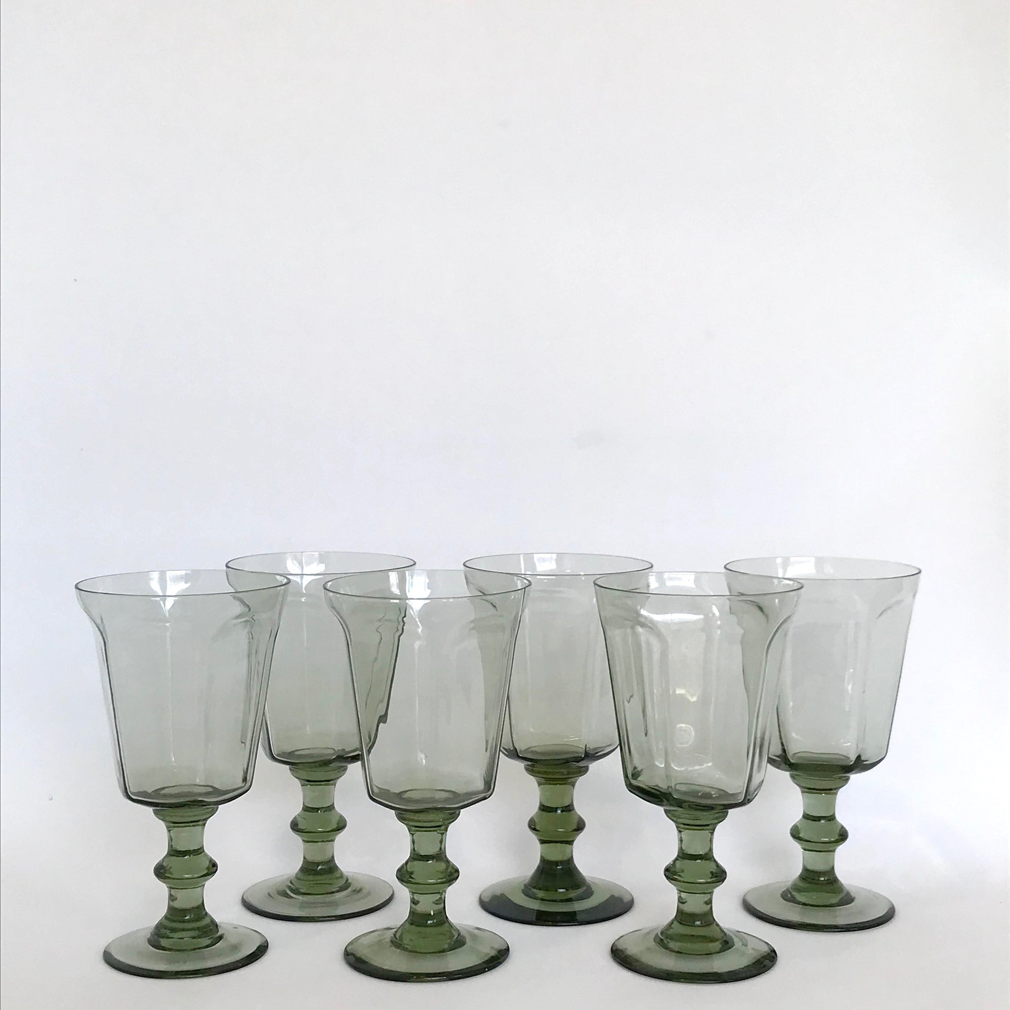 vintage pale grey green faceted goblets