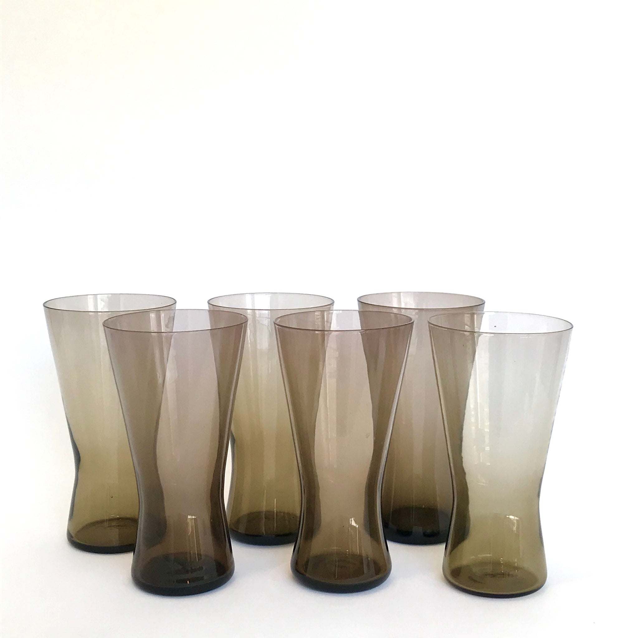 vintage hand blown smoky brown pilsner glasses
