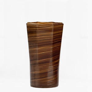 handblown twisted tall glass, brown