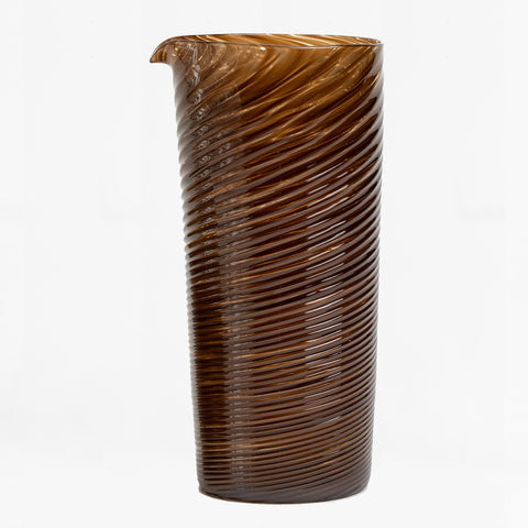 handblown twisted glass pitcher, brown