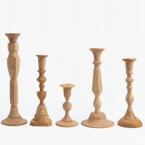 hand carved wood candlesticks