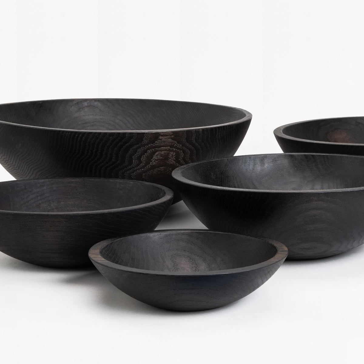 black ebonized oak wood bowl