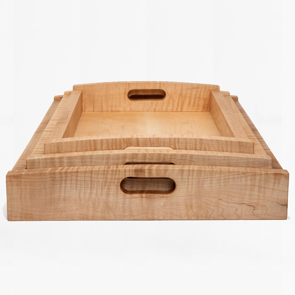 tiger maple rectangular wood tray