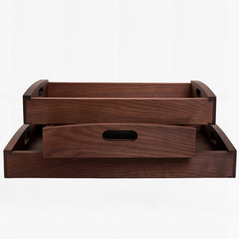 walnut rectangular wood tray