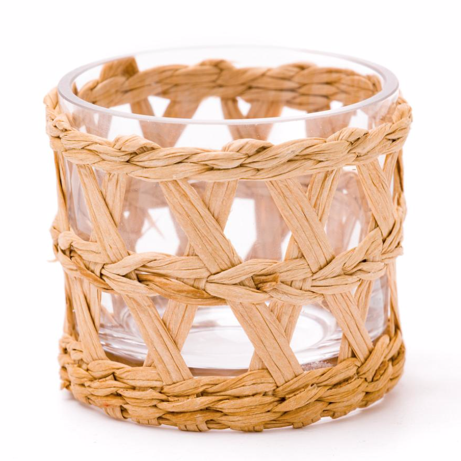 woven raffia wrapped votives