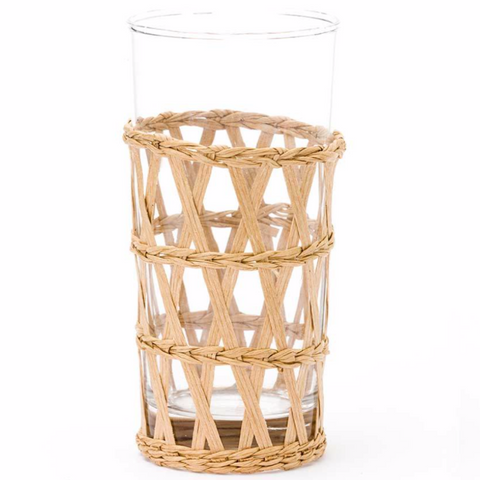 woven wrapped iced tea glass