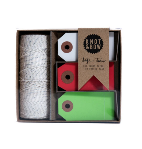 parcel tag and twine set, holiday