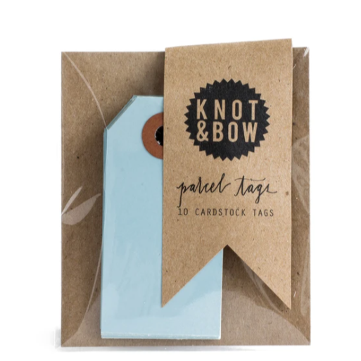 parcel tags, light blue