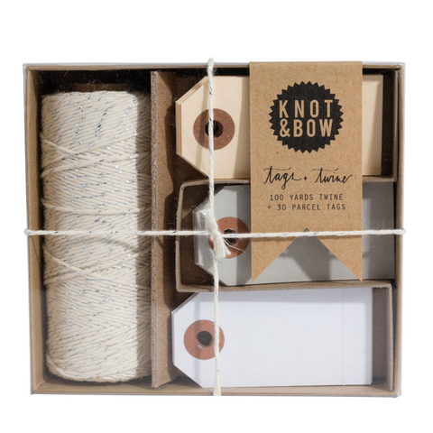 parcel tag and twine set, neutral