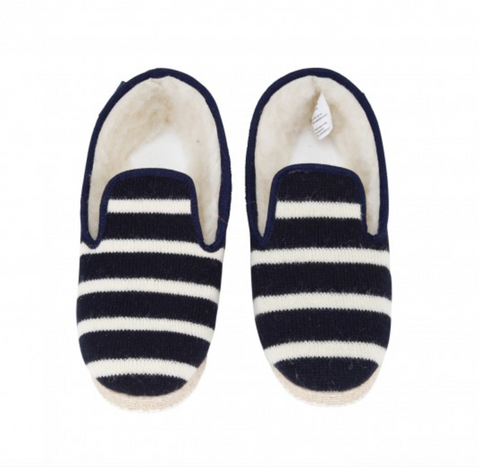 striped slipper, navy/natural
