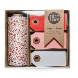 parcel tag and twine set, valentine