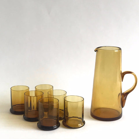 vintage amber glass cocktail set