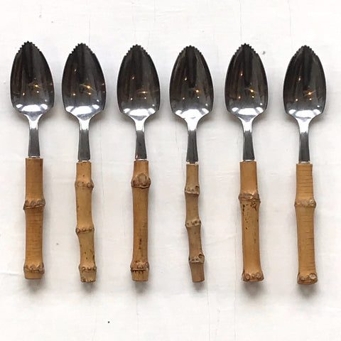 vintage bamboo handle grapefruit spoons