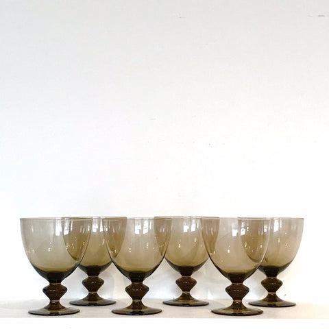 vintage brown glass water glasses