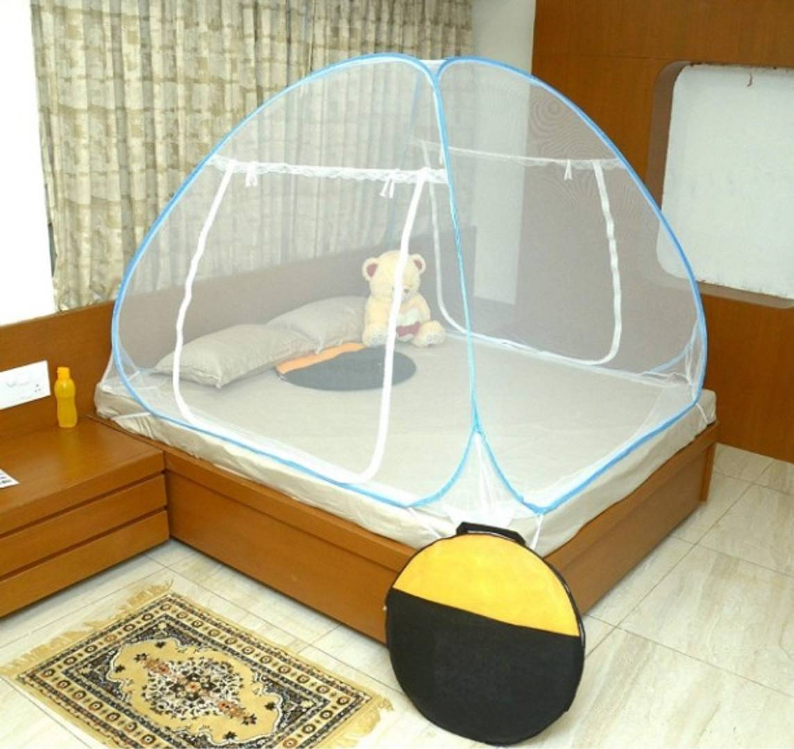 Blue Polyester Adults Premium Foldable Mosquito Net Double Bed