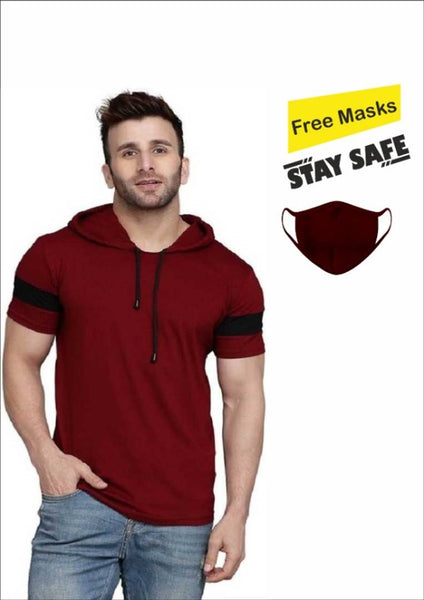 Get A Mask Free!!  Multicoloured Self Pattern Cotton Hooded Tees