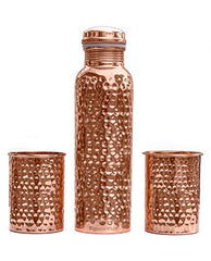 Copper Bottle with 2 Glasses, Hammered Set of 3, Copper - lallntop.com