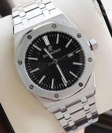 Audemars pigut silver black automatic watch used - lallntop.com