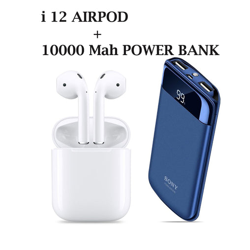 10000 MAh Power Bank + I12 Wireless Bluetooth Headset