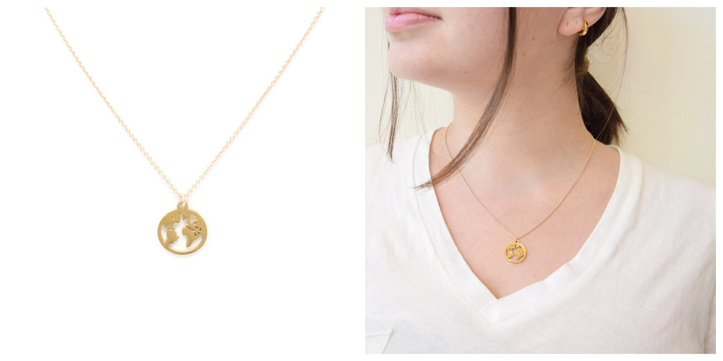 Love You More World Necklace in Gold