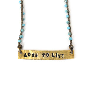 Beaded Love To Live Plaque Necklace