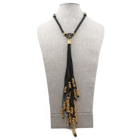The Victoria Tie Necklace in Dark Green & Gold