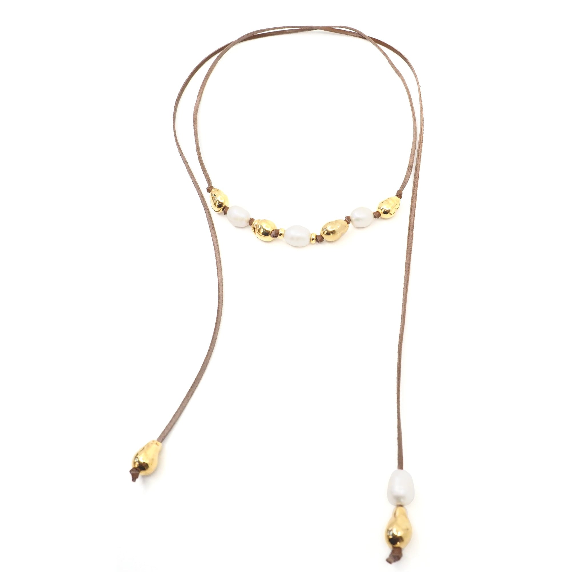The Victoria Necklace in Gold, Pearl & Leather