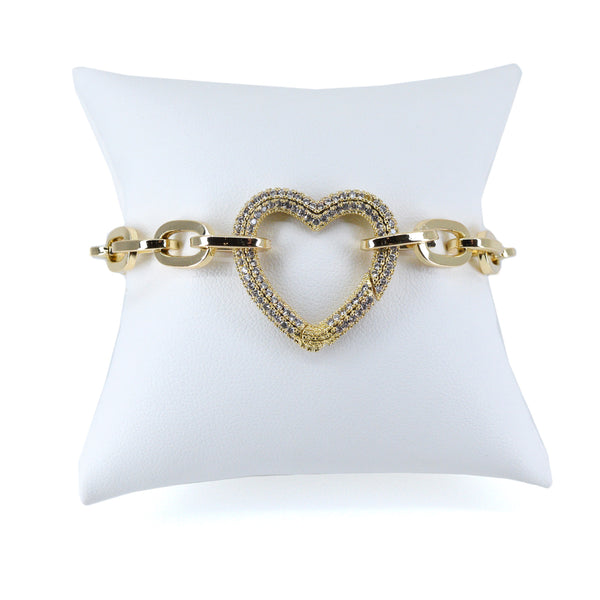 Take My Heart Pavé Crystal Chain Link Bracelet