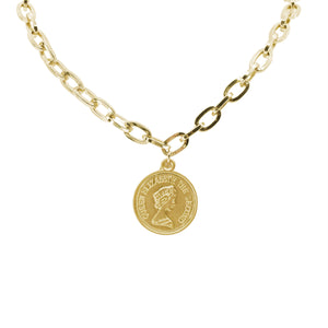 Queen Elizabeth Coin Necklace - Chunky Gold Chain