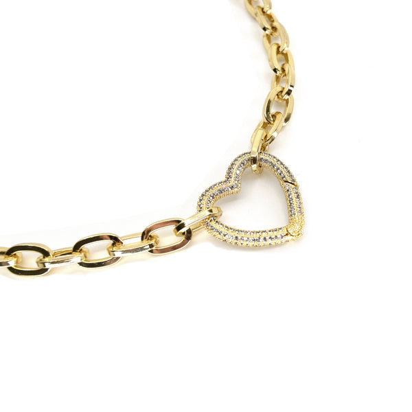 Ibiza Pavé Crystal Gold Heart Necklace