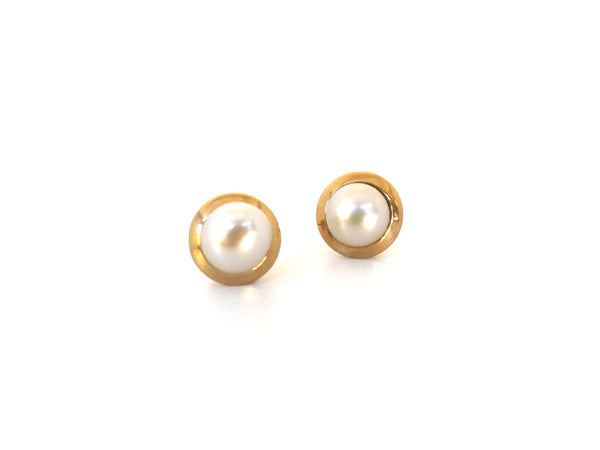 The Whitney Pearl Studs in 10K Gold