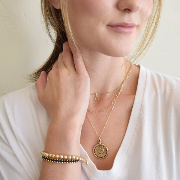 Goddess Gold Coin Necklace Woman