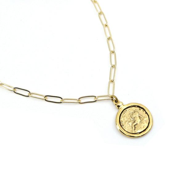 Goddess Necklace - Gold Paperclip Chain 1