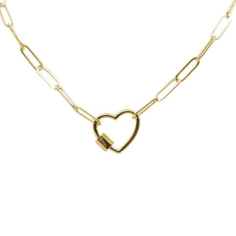 Take My Heart Gold Chain Link Necklace - Paperclip Cable Chain