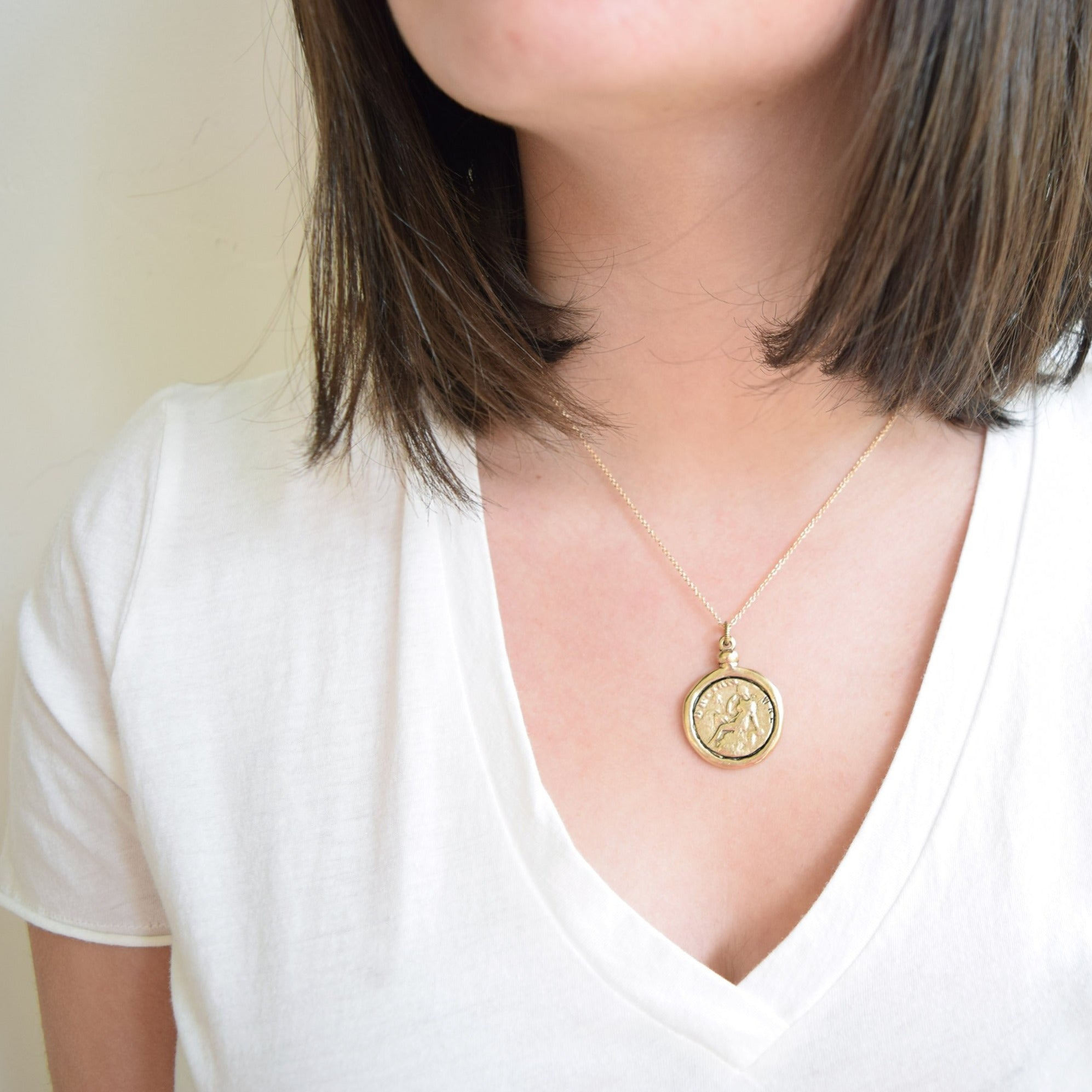 Love You More Gold Coin Goddess Necklace