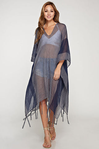 Navy Sheer Beach Wrap
