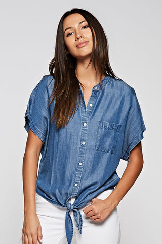 Chambray Tie-Front Shirt