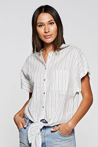 French Stripe Tie-Front Shirt