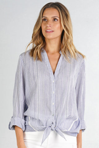 Vertical Stripe Button Down Shirt