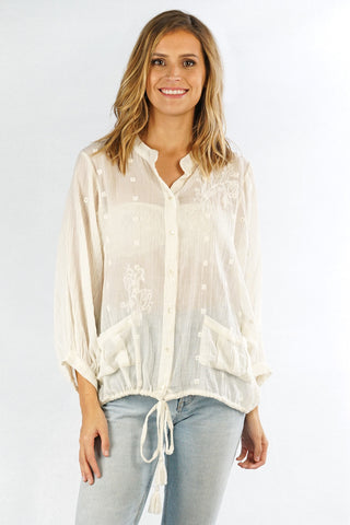 Drawstring Button Down Blouse