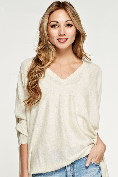 Oatmeal V-Neck Batwing Sweater