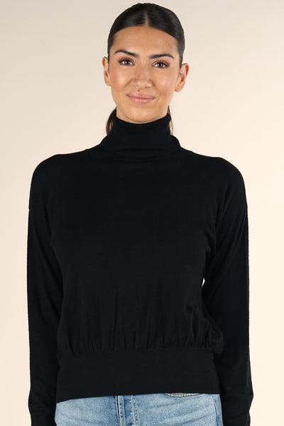 Banded Waist Turtleneck Sweater