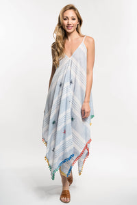 Blue Stripe Maxi Dress with Tassels