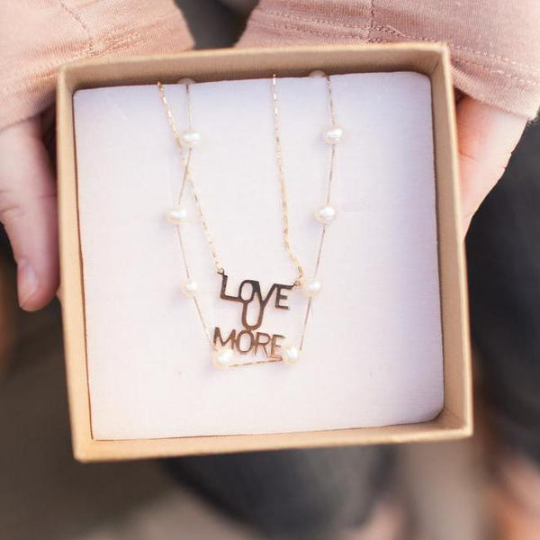 Love You More Necklace - Gold with Heart Charm