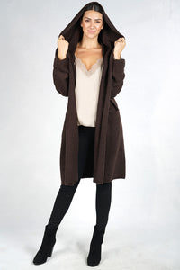 Espresso Hooded Cardigan Cape