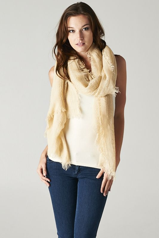 Rustic Cream Convertible Knit Scarf
