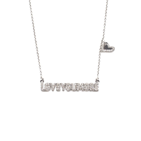 The Love Bar Necklace in White Diamond & 14K White Gold