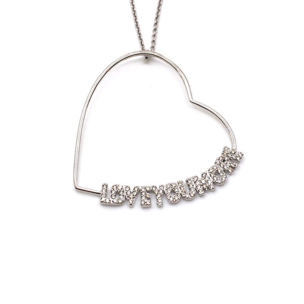 The Lucy Love Necklace in White Diamonds and White Gold