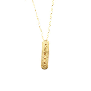 Love You More Vertical Charm Necklace in 10K & 14K Gold