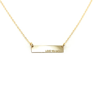 Love You More Plaque Necklace